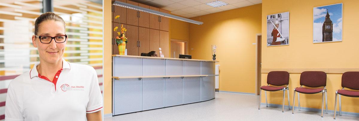 Empfangsbereich in der Facharztpraxis Dr. med. Uwe Abschke